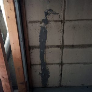 basement wall crack in foundation fixed with Urethane Injection